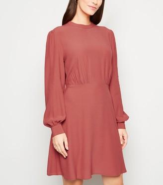 New Look Mid High Neck Puff Sleeve Dress