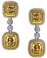 18K Yellow & White Gold With Yellow Diamond Drop Dangle Earrings