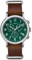 Timex Weekender Slip Thru Leather Strap Chronograph Watch - Brown/Green TW2P97400JT