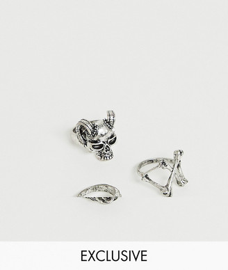 Reclaimed Vintage inspired ring pack with animal skull detail exclusive to ASOS