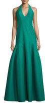 Halston Faille Halter Tulip Gown, Emerald
