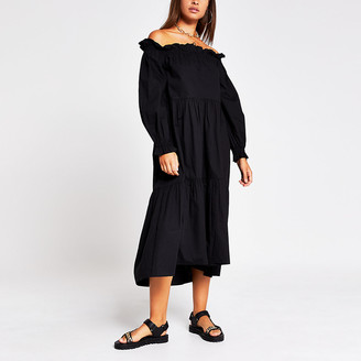 River Island Black long sleeve bardot puff sleeve dress