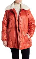Kenneth Cole New York Faux Shearling Lined Collar Down Jacket (Plus Size)