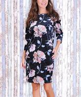 JET Black & Pink Floral Pocket Shift Dress
