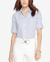 Lauren Ralph Lauren Roll-Tab-Sleeve Striped Shirt