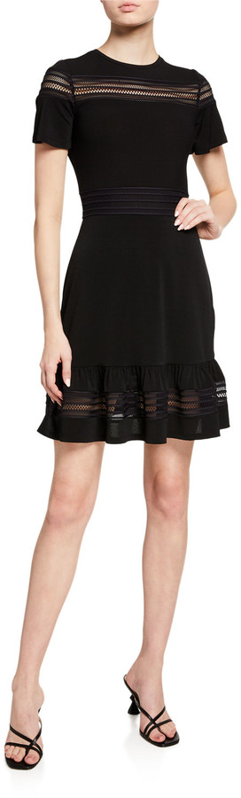 MICHAEL Michael Kors Short-Sleeve Mesh Combo Dress
