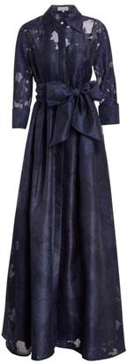 Teri Jon by Rickie Freeman Organza Jacquard Floor-Length Gown