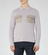 Reiss Reiss Diero - Contrast Pocket Cardigan In Grey