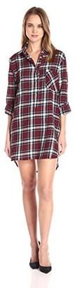 En Creme Women's Boyfriend Plaid Shirt Dress