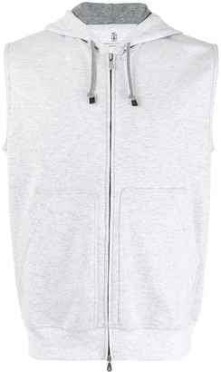 Brunello Cucinelli Zip Up Sleeveless Hoodie