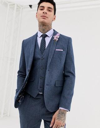 Harry Brown wedding wool blend slim fit summer tweed suit jacket-Blue