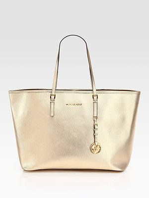 MICHAEL Michael Kors Metallic Coated Canvas Tote
