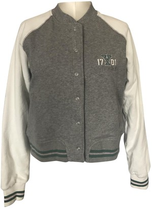 Champion Grey Cotton Leather Jacket for Women