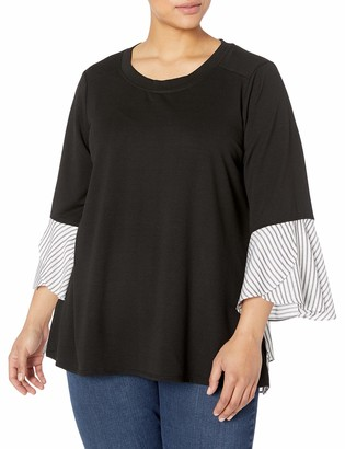 Amy Byer Women's Plus Size 2-fer French Terry Top