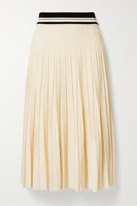 Tory Burch Pleated Stretch-knit Midi Skirt - Cream