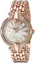 Burgi Women's Mother-of-Pearl Dial with Swarovski Crystal Accented Rose-Tone Bezel on Rose-Tone Stainless Steel Bracelet Watch BUR163RG