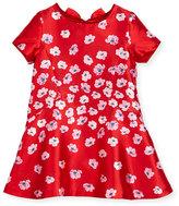 Oscar de la Renta Degrade Poppies Bow Dress, Red/Pink, Size 3-10