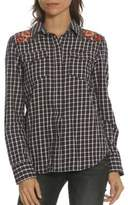 Driftwood Floral Embroidered Plaid Button-Down Shirt