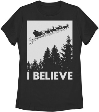 Juniors' Santa Claus I Believe Reindeer Christmas Graphic Tee