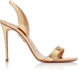 Aquazzura So Nude Metallic Leather Slingback Sandals