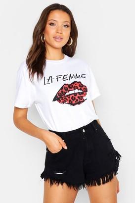 boohoo Tall Leopard Print Lips T-Shirt