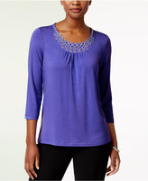 Alfred Dunner Closet Case Starburst Embellished Top