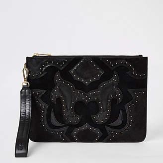 River Island Black leather studded western clutch bag