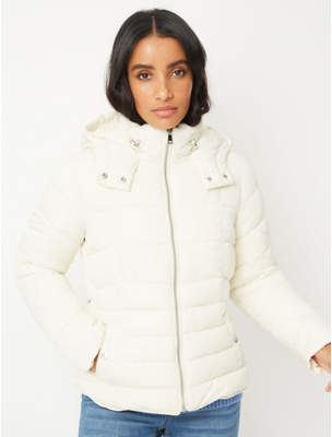 George Cream Hooded Shower Resistant Padded Coat