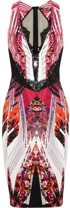 Roberto Cavalli Lace-trimmed stretch-crepe dress