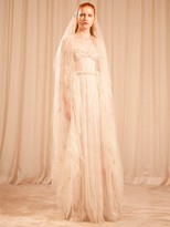 Sandra Mansour EMBROIDERED LACE DRESS W/ CORSET