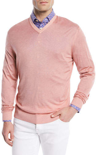 Kiton Washed Cashmere-Silk V-Neck Sweater, Pink