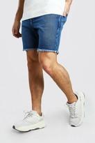 boohoo Mens Blue Slim Fit Denim Short With Distressed Raw Hem, Blue