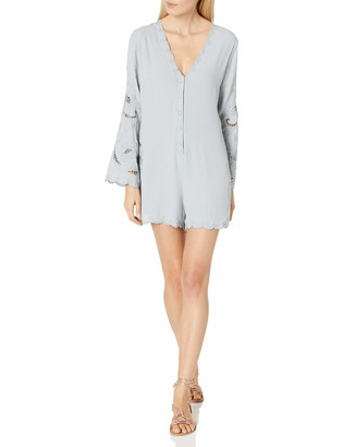 ASTR the Label Women's Genevieve Embroidered Bell Sleeve Romper