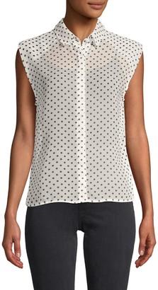 RtA Sheer Polka Dot-Print Shirt
