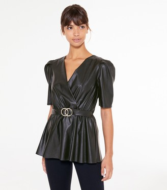 New Look Leather-Look Belted Top