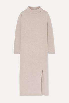 Allude Wool And Cashmere-blend Turtleneck Midi Dress - Beige