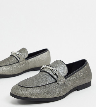 ASOS DESIGN Wide Fit Loafers in silver glitter with snaffle
