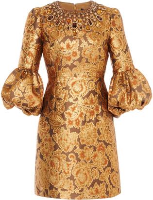Andrew Gn Crystal-Embellished Floral Brocade Mini Dress