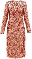 Dolce & Gabbana Gathered-waist Sequinned Dress - Womens - Pink