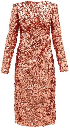 Dolce & Gabbana Gathered Waist Sequinned Dress - Womens - Pink