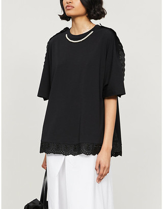 Simone Rocha Ruffled embellished cotton-jersey T-shirt