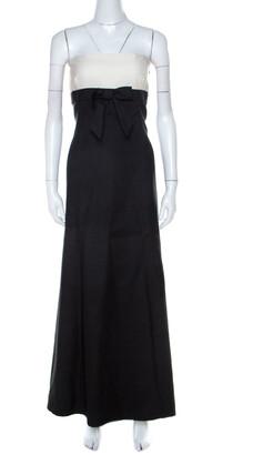 Valentino Black & White Wool & Silk Blend Bow Detail Tube Dress M