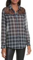 The Kooples Women's Lace Yoke Plaid Shirt