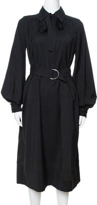 Celine Black Wool Belted Shirt Dress S