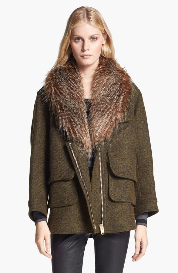 Smythe Faux Fur Collar Jacket