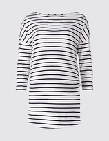 Marks and Spencer Maternity Striped 3/4 Sleeve Jersey Top with StayNEWTM