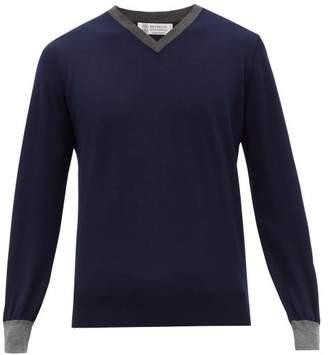 Brunello Cucinelli Contrast Edge V Neck Cashmere & Silk Sweater - Mens - Blue