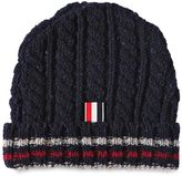 Thom Browne Wool Cable Knit Beanie Hat