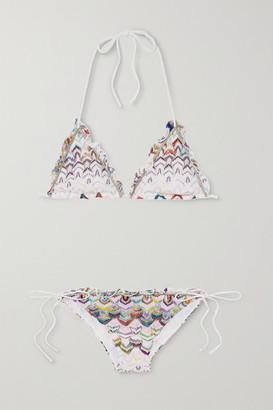 Missoni Mare Ruffled Crochet-knit Triangle Halterneck Bikini - White