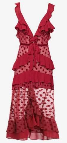 For Love & Lemons Dotty Red Cocktail Dress